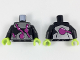 Part No: 973pb2966c01  Name: Torso Metallic Silver Bands with Bulging Purple Tubes Pattern / Black Arms / Lime Hands