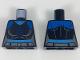 Part No: 973pb3023  Name: Torso Female Blue Shoulders, Dark Blue Snowflake Symbol Pattern