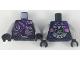 Part No: 973pb3180c01  Name: Torso Female SOG Jacket, Dark Purple Scarf, Silver and Dark Pink Details Pattern / Light Bluish Gray Arms / Black Hands