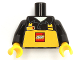 Part No: 973pb3210c01  Name: Torso Polo Shirt with Collar and Yellow Apron with LEGO Logo and Name Tag Pattern (LEGO Store Employee) / Black Arms / Yellow Hands