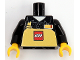Part No: 973pb3216c01  Name: Torso Polo Shirt with Collar and Yellow Apron with LEGO Logo and Name Tag on Left Side Pattern (LEGO Store Employee) / Black Arms / Yellow Hands