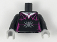 Part No: 973pb3320c01  Name: Torso Female Outline with Magenta Spider Web Trim, Necklace and Dark Bluish Gray Spider Pattern / Black Arms / Light Bluish Gray Hands