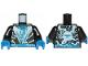 Part No: 973pb3344c01  Name: Torso Ninja Robe with Blue Belt and Sash and Spinjitzu Lightning Burst Pattern / Black Arms / Blue Hands