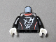 Part No: 973pb3427c01  Name: Torso Race Jumpsuit with Demon Logo, White and Red Stripes Pattern / Black Arms / White Hands