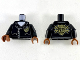 Part No: 973pb3449c01  Name: Torso Police Silver Zippers and Rivets, Gold Badge Front, Gold Emblem with Minifig Head and Wrenches Back Pattern / Black Arms / Reddish Brown Hands