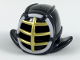 Part No: 98130pb04  Name: Minifigure, Headgear Helmet Ninjago Kendo with Gold Grille Mask and White Trim Pattern