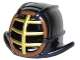 Part No: 98130pb06  Name: Minifigure, Headgear Helmet Ninjago Kendo with Gold Grille Mask and Reddish Brown Trim Pattern