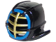 Part No: 98130pb07  Name: Minifigure, Headgear Helmet Ninjago Kendo with Gold Grille Mask and Blue Trim Pattern