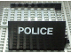 Part No: x146c01pb04  Name: Boat Hull Smooth Middle 8 x 6 x 3 1/3, Deck Color Light Gray with 'POLICE' Pattern on Both Sides (Stickers)