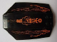 Part No: x224pb014  Name: Windscreen 8 x 6 x 2 Curved with Orange Lines and Atlantis Logo Pattern (Stickers) - Set 8076