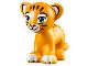 Part No: 14734pb03  Name: Lion / Tiger, Friends / Elves, Cub with Medium Azure Eyes, Dark Pink Nose and Dark Brown Stripes Pattern (Rajah)