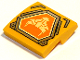 Part No: 15068pb105  Name: Slope, Curved 2 x 2 with Bright Light Yellow Bull Head on Orange Hexagonal Shield with Silver Border Pattern