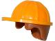 Part No: 16175pb02  Name: Minifigure, Headgear Helmet Construction with Medium Dark Flesh Hair Pattern