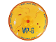Part No: 3961pb10  Name: Dish 8 x 8 Inverted (Radar) with Dark Blue 'WP-G' and 'DRONE CHARGE STATION', Dark Orange Rim, Dirt and Rust Spots Pattern
