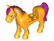 Part No: 93083c01pb14  Name: Horse with 2 x 2 Cutout, Bright Light Orange Eyes, White Face Decoration, Magenta Mane and Tail Pattern