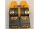 Part No: 970c85pb16  Name: Hips and Dark Bluish Gray Legs with Bright Light Orange Armor, Circuitry and Hexagonal Knee Pads Pattern