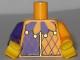 Part No: 973pb1772c01  Name: Torso Purple and Bright Light Orange Jester Collar Pattern / Bright Light Orange Arm Left / Dark Purple Arm Right / Yellow Hands