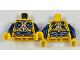 Part No: 973pb2852c01  Name: Torso Parademon Armor Skeletal with Vertebrae, Dark Blue and Sand Blue Detail Pattern / Dark Blue Arms / Bright Light Orange Hands