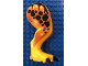 Part No: 98062c01pb07  Name: Dino Leg Large (Rear) Tyrannosaurus rex with Pin, Black Claws and Black Spots on Dark Orange Pattern - Right