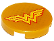Part No: 14769pb161  Name: Tile, Round 2 x 2 with Bottom Stud Holder with Yellow Letter 'W' with Red Outline Wonder Woman Logo and Gold Dots Pattern