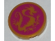 Part No: 14769pb203  Name: Tile, Round 2 x 2 with Bottom Stud Holder with Pearl Gold Dragon on Magenta Background Pattern