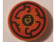 Part No: 14769pb207  Name: Tile, Round 2 x 2 with Bottom Stud Holder with Black Circular Lines on Red Background Pattern