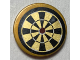 Part No: 14769pb248  Name: Tile, Round 2 x 2 with Bottom Stud Holder with Pearl Gold and Black Dart Board Pattern (Sticker) - Set 70812