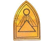 Part No: 18836pb01  Name: Minifigure, Shield Triangular Long with Black Outlines, Circle and Triangles Pattern
