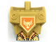 Part No: 23763c01pb04  Name: Torso, Modified Oversized with Armor with Pin Holes with Orange and Gold Circuitry and Gold Bull Head on Orange Pentagonal Shield Pattern