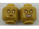 Part No: 3626cpb1806  Name: Minifigure, Head Dual Sided Alien with Gold Eyes and Cheek Contours, Neutral / Angry Pattern - Hollow Stud