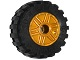 Part No: 55981c05  Name: Wheel 18mm D. x 14mm with Pin Hole, Fake Bolts and Shallow Spokes with Black Tire 30.4 x 14 Offset Tread - Band Around Center of Tread (55981 / 92402)