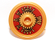 Part No: 91884pb003  Name: Minifigure, Shield Round with Stud and Ring Around Edge with Dark Red and Gold Aztec Pattern
