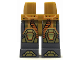 Part No: 970c85pb21  Name: Hips and Dark Bluish Gray Legs with Orange and Yellow Circuitry, Gold Hexagonal Knee Pads and Boots Pattern