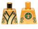 Part No: 973pb1348  Name: Torso Ninjago Robe with Black, Green and Gold Sash and Lion Head on Back Pattern