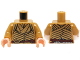 Part No: 973pb1800c01  Name: Torso LotR Robe with Woven Gold Strips and Dark Red Belt Pattern (Elrond) / Pearl Gold Arms / Light Flesh Hands