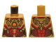 Part No: 973pb2139  Name: Torso Female Outline with Red and Gold Armor with Pendants, Scales, Belt and Orange Round Jewel (Fire Chi) Emblem Pattern