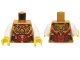 Part No: 973pb2139c01  Name: Torso Female Outline with Red and Gold Armor with Pendants, Scales, Belt and Orange Round Jewel (Fire Chi) Emblem Pattern / White Arms / Yellow Hands