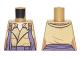 Part No: 973pb2444  Name: Torso Open Coat with Collar, Orange and Dark Purple Loose Straps Pattern