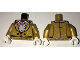 Part No: 973pb2540c01  Name: Torso Jacket with White Speckles over Ruffled Shirt, Pink Bat Bow Tie, Two Black Buttons Pattern / Pearl Gold Arms with Speckles Pattern / White Hands