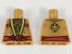 Part No: 973pb3063  Name: Torso Ninjago Robe, Metallic Gold and Copper Flames, Red Sash Pattern
