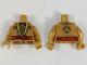 Part No: 973pb3063c01  Name: Torso Ninjago Robe, Metallic Gold and Copper Flames, Red Sash Pattern / Pearl Gold Arms / Pearl Gold Hands