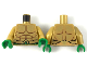 Part No: 973pb3285c01  Name: Torso Bare Chest with Muscles Outline, Gold Scales and Green Belt Pattern / Pearl Gold Arms / Green Hands