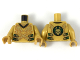 Part No: 973pb3410c01  Name: Torso Robe with 2 Gold Dragon Heads and Tails, Dark Green Straps with Gold Clasps Pattern / Pearl Gold Arms / Pearl Gold Hands