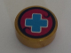 Part No: 98138pb075  Name: Tile, Round 1 x 1 with Medium Blue Cross on Magenta Background Pattern