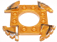 Part No: 98343pb03  Name: Ring 4 x 4 with 2 x 2 Hole and 4 Serrated Ends with Black and Silver Pattern (Ninjago Spinner Crown)