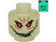 Part No: 3626bpb0062  Name: Minifigure, Head Alien with Red Eyes, Teeth and Wide Stitched Smile Pattern (Scarecrow) - Blocked Open Stud