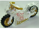 Part No: 18895c04pb01  Name: Motorcycle Sport Bike Complete Assembly with White Frame and Pearl Gold Wheels and Wonder Woman Pattern on Both Sides (Stickers) - Set 41235