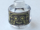 Part No: 3626bpb0005  Name: Minifig, Head Alien with Robot Gold Pattern - Blocked Open Stud
