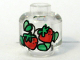 Part No: 3626bpx85  Name: Minifigure, Head (Without Face) Red Strawberries with Green Pattern - Blocked Open Stud
