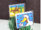 Part No: 3855pb008  Name: Glass for Window 1 x 4 x 3 with Cowboy on Horse Side / Waving Duck Side Pattern (Stickers)